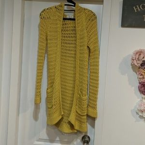 Long yellow cardigan from anthropologie